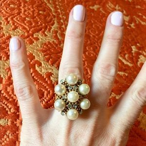 Vendone Vintage  Faux Pearl cocktail ring